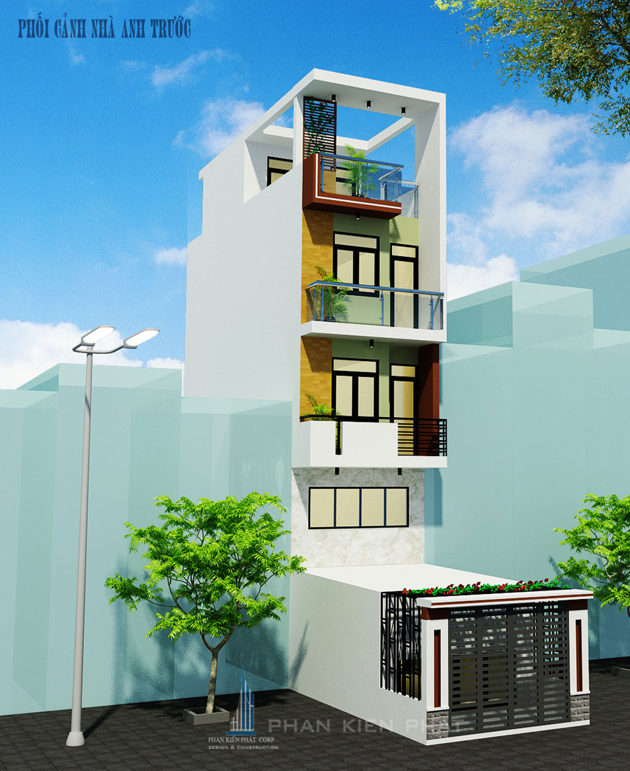 Công trình, Thiết kế nhà 4 tầng, Anh Phạm Văn Trước