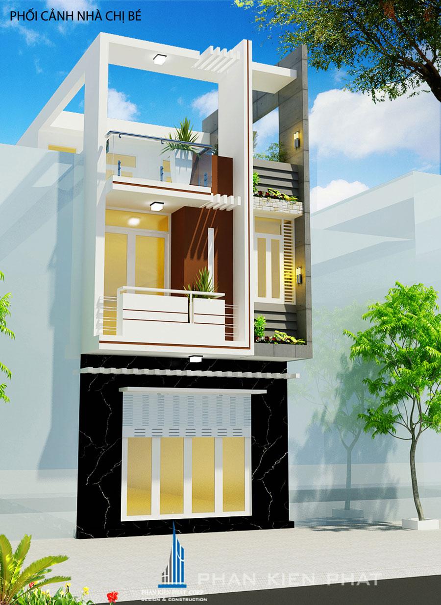 Công trình, Thiết kế nhà 3 tầng, Chị Nguyễn Thị Bé