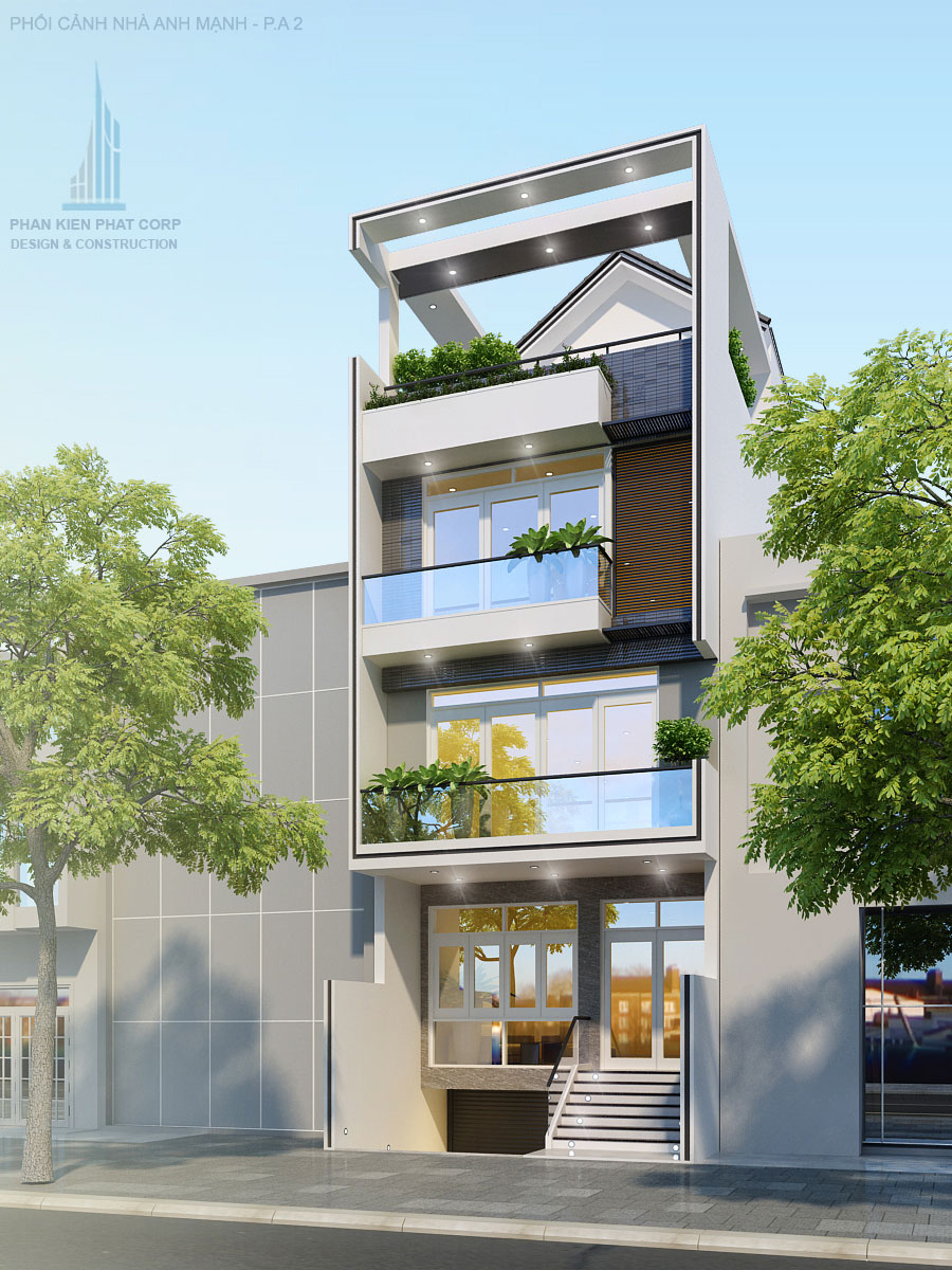 Công trình, Thiết kế nhà 4 tầng, Anh Lê Văn Mạnh