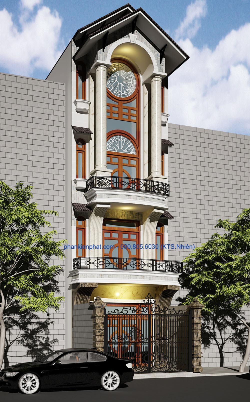 Nhà đẹp lệch tầng bán cổ điển 5x17.6m