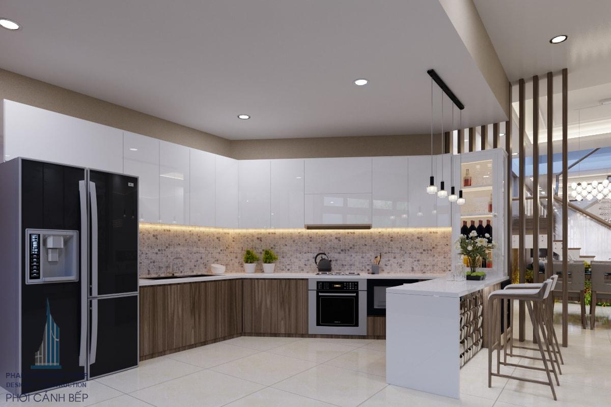 Phối cảnh nội thất phòng bếp đẹp