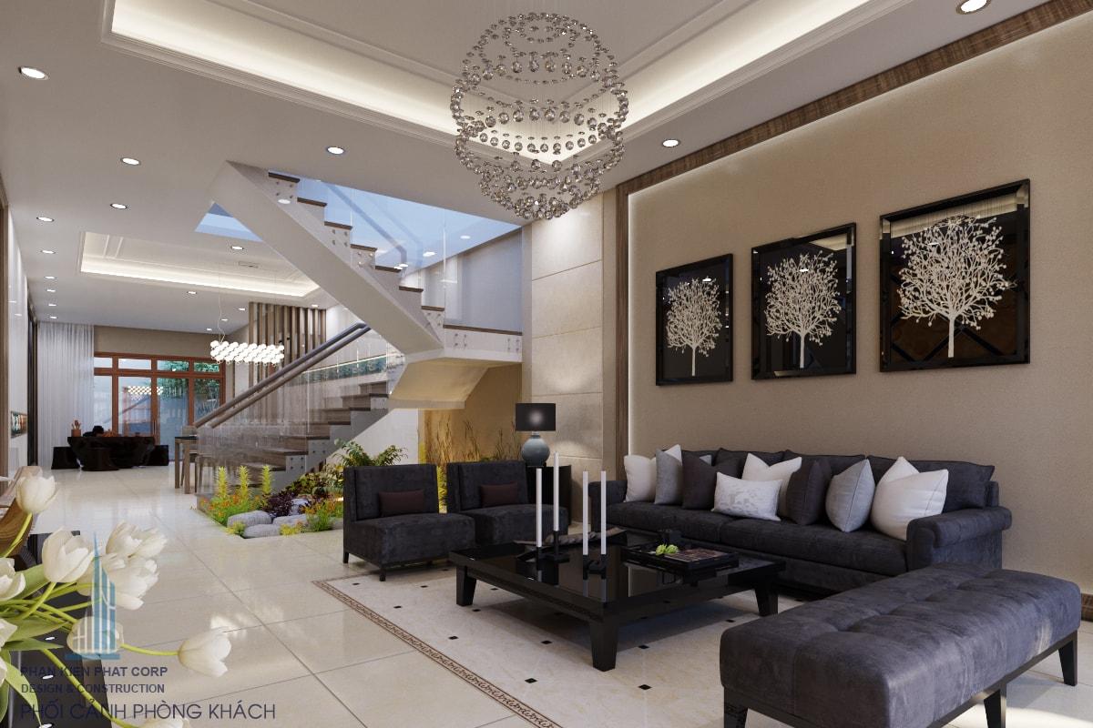 Phối cảnh thiết kế nội thất phòng khách