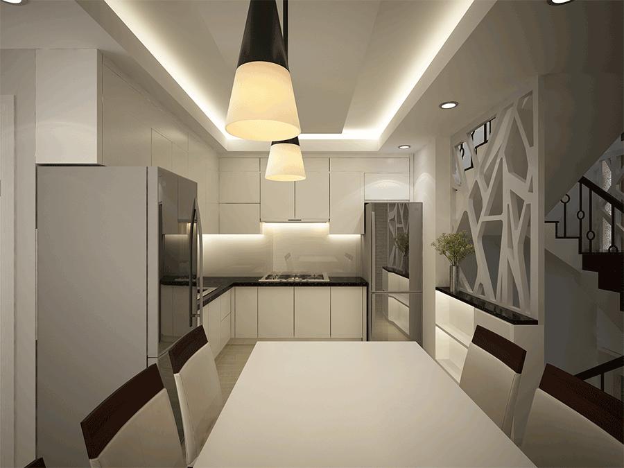 Phối cảnh bếp của nhà phố hiện đại