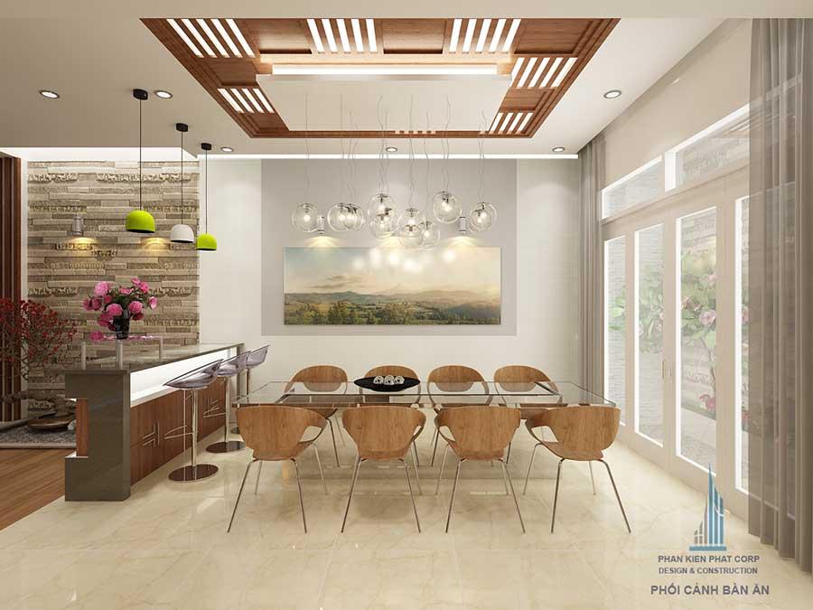 Phòng bếp góc 1 của bản vẽ nhà phố 4 tầng