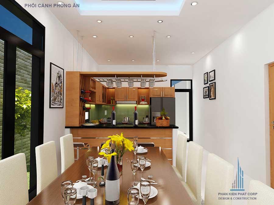 Phòng bếp góc 2 mẫu nhà 2 tầng đẹp