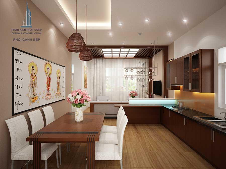 Phòng bếp thiết kế biệt thự 2 tầng