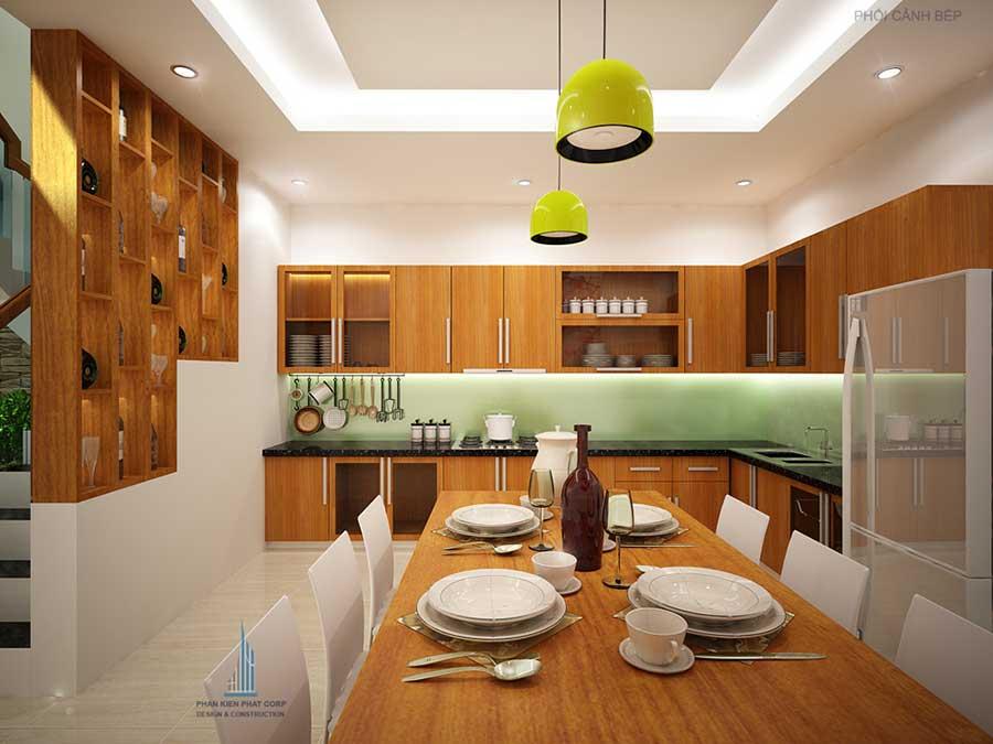 Bếp góc 1 - nhà 4 tầng hiện đại