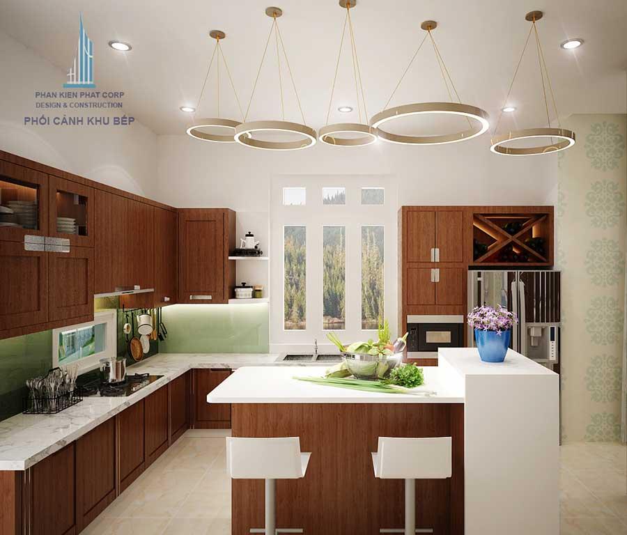 Phòng bếp - mẫu biệt thự đẹp 2 tầng sân vườn