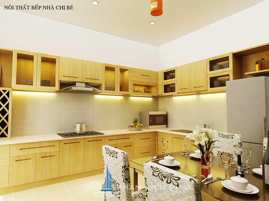 phòng bếp góc 2 - xây nhà 3 tầng hiện đại