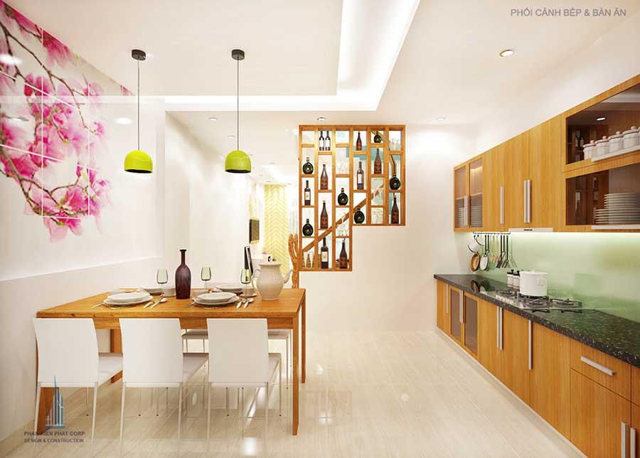 Phòng bếp góc 1 của bản vẽ nhà 4 tầng đẹp