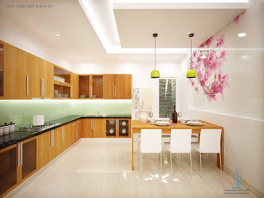 Phòng bếp góc 2 của bản vẽ thiết kế nhà 4 tầng