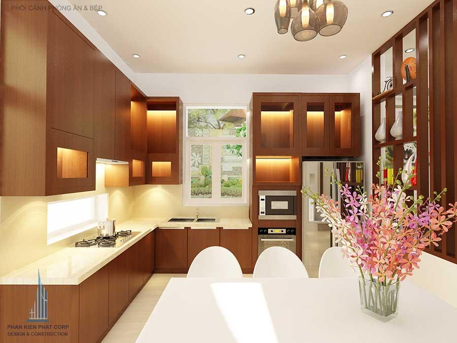 Thiết kế nhà phố 3 tầng - Bếp phòng ăn góc 1