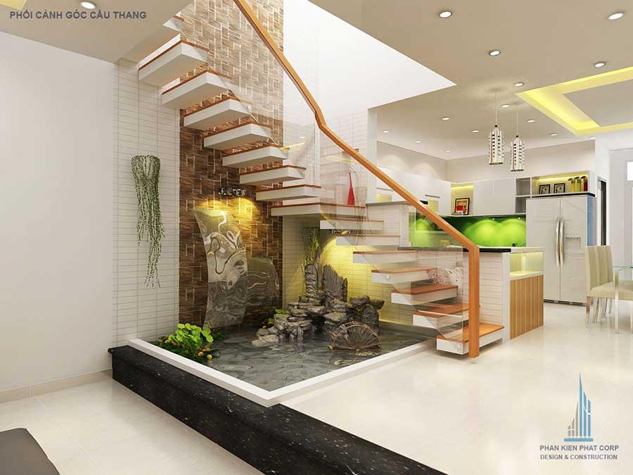 Phối cảnh cầu thang của nhà 3 tầng mặt phố