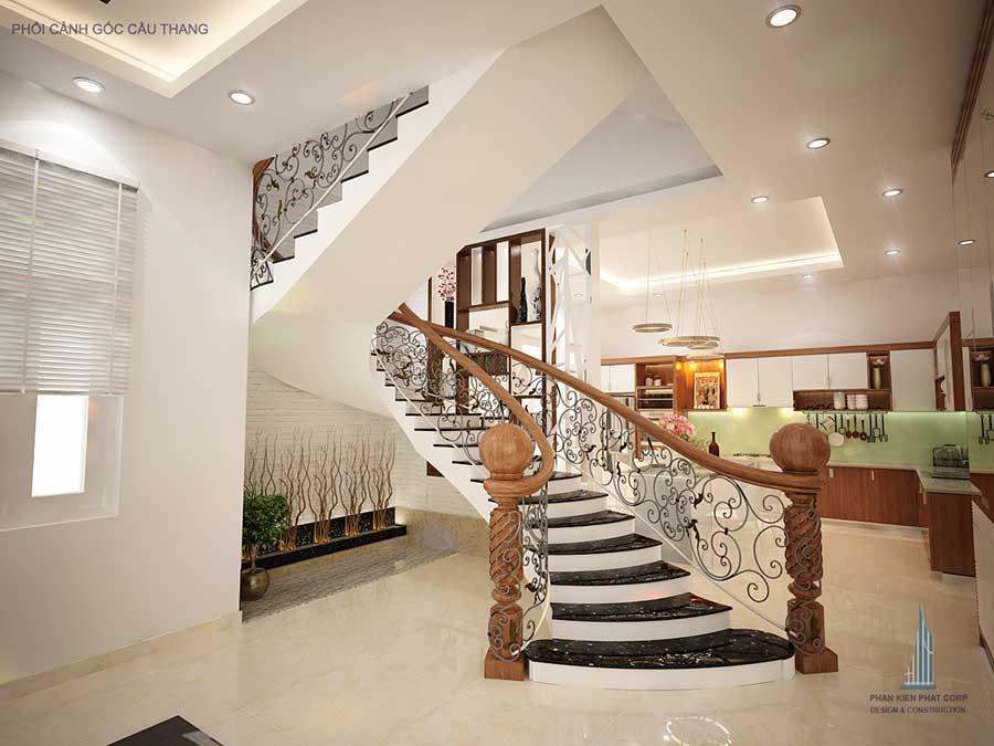 Tiểu cảnh cầu thang - Xây nhà 3 tầng 15x12m