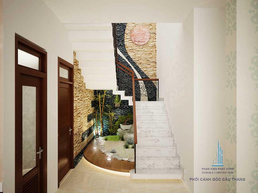 Tiểu cảnh cầu thang mẫu nhà 2 tầng sân vườn