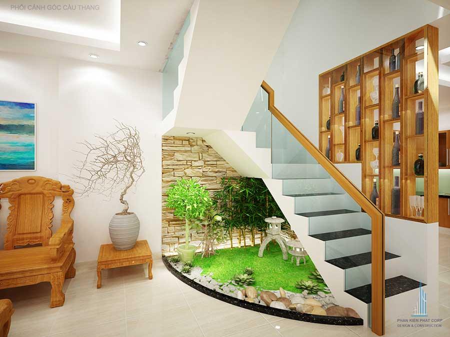 Tiểu cảnh cầu thang nhà 4 tầng đẹp