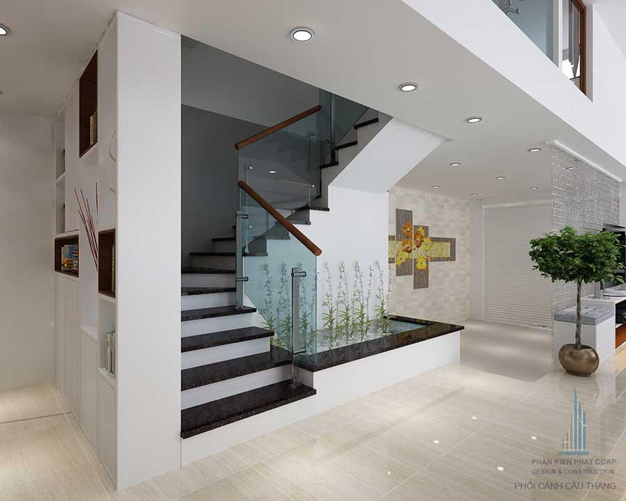 Phối cảnh góc cầu thang của nhà phố thiết kế sang trọng