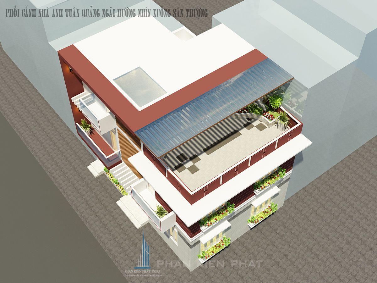 Phối cảnh góc nhà wiew 1 - thiết kế biệt thự 3 tầng