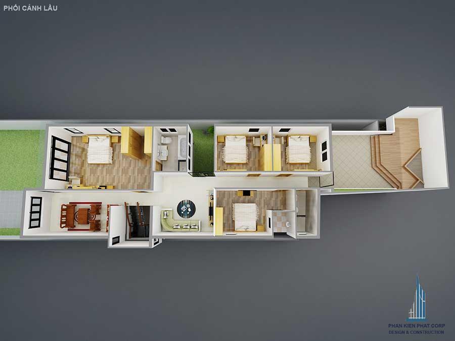 Phối cảnh lầu của nhà 2 tầng hiện đại 10x20m