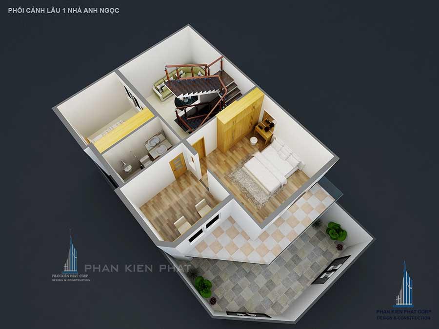 Xây dựng biệt thự - Lầu 1 góc 2