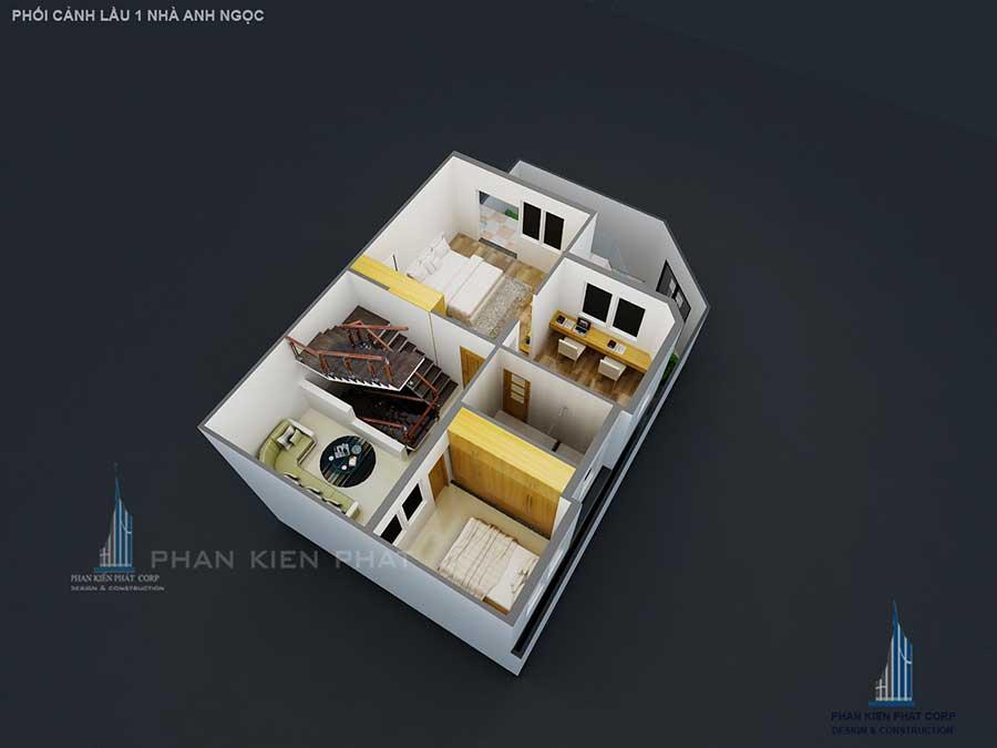 Thiết kế biệt thự bán cổ điển - Lầu 1 góc 3
