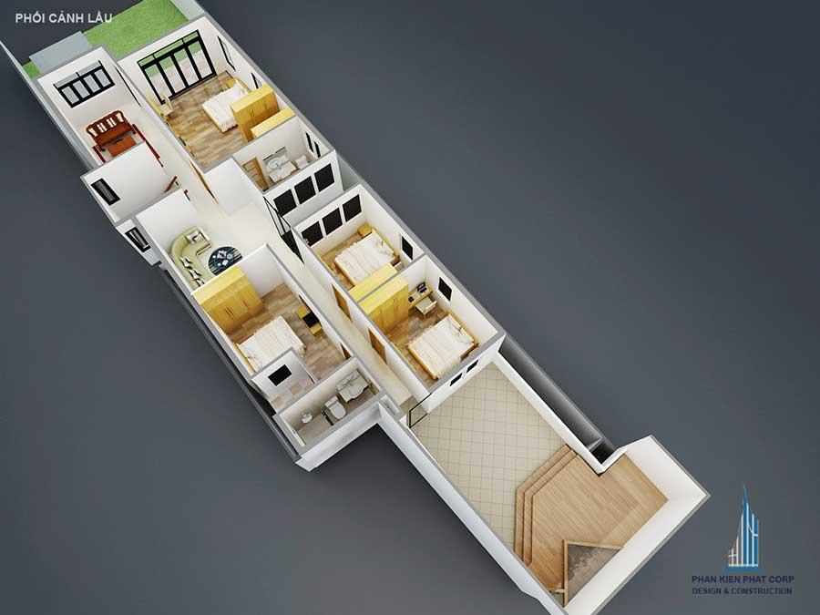 Thiết kế nhà 2 tầng - Lầu 1 góc 3