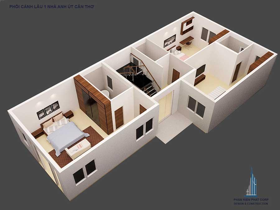 Thiết kế biệt thự cổ điển - Mặt bằng lầu 1