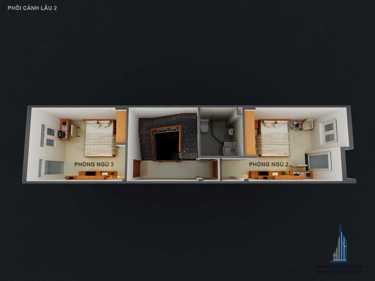 Phối cảnh mặt bằng lầu 2 góc 1 của nhà phố 4 tầng