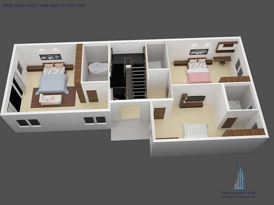 Thiết kế biệt thự cổ điển - Mặt bằng lầu 2 góc 1