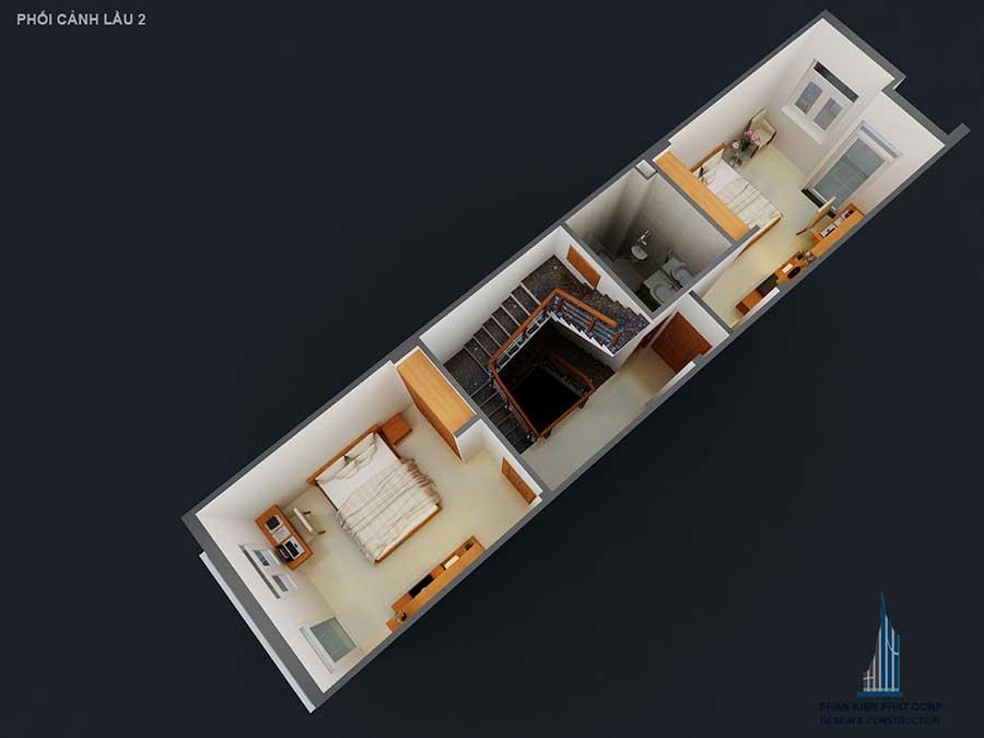 Thiết kế nhà mái bằng - Mặt bằng lầu 2 góc 2