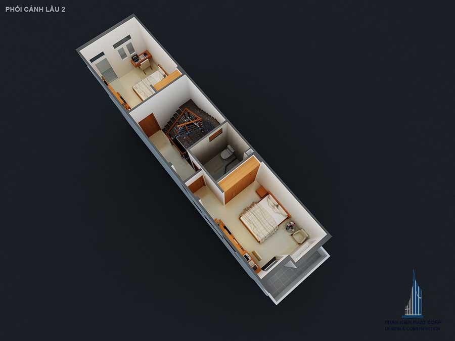 Mặt bằng lầu 2 góc 3 của nhà 4 tầng mặt phố