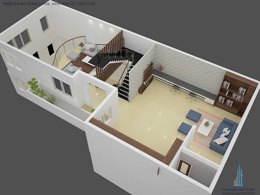 Thiết kế biệt thự cổ điển - Mặt bằng lửng góc 2