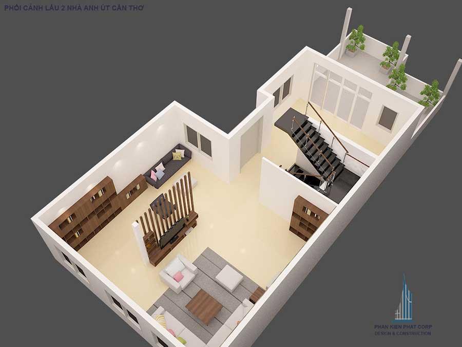 Biệt thự cổ điển - Mặt bằng sân thượng góc 1