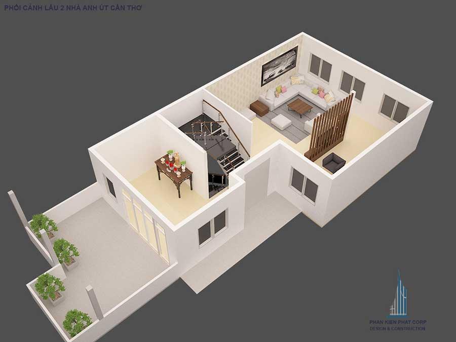 Thiết kế biệt thự - Mặt bằng sân thượng góc 2