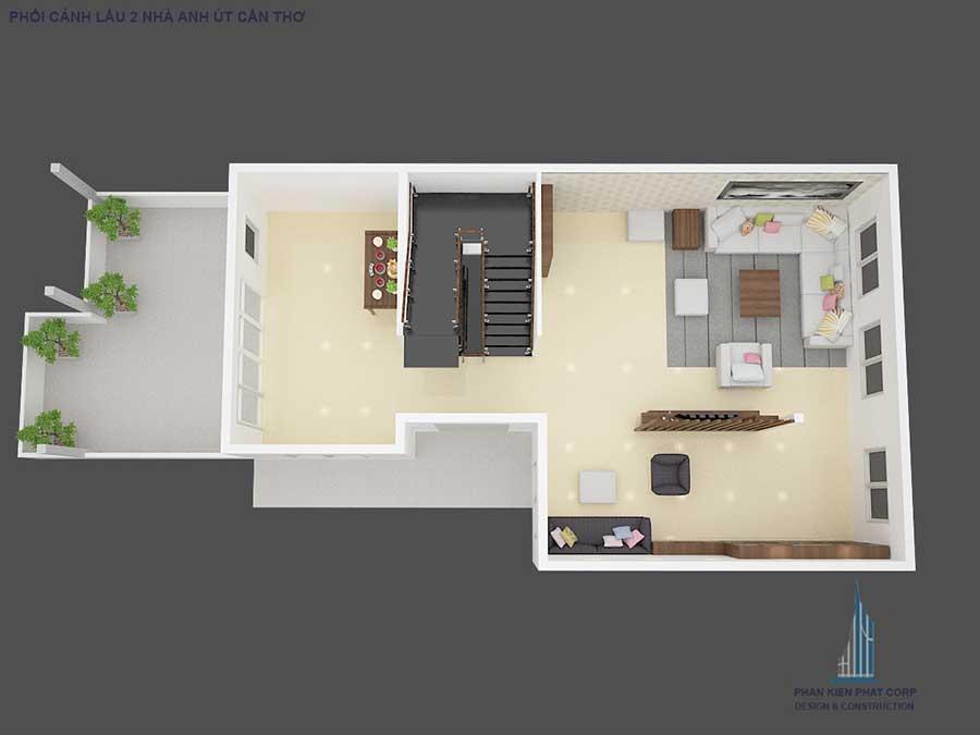Biệt thự cổ điển - Mặt bằng sân thượng góc 3