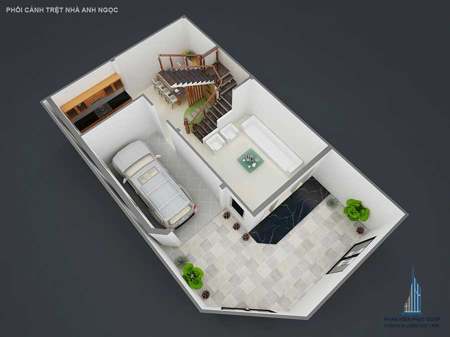 Xây biệt thự bán cổ điển - Mặt bằng trệt góc 2