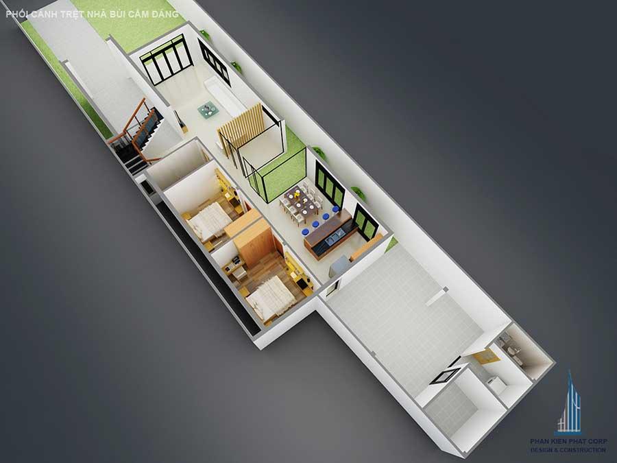 Phối cảnh tầng trệt của nhà 2 tầng hiện đại