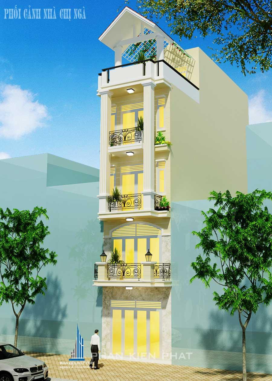 Phối cảnh mặt tiền của nhà phố 5 tầng