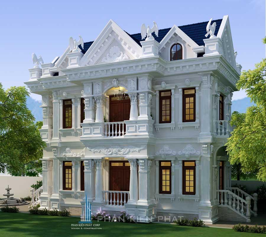 Bản vẽ thiết kế nhà 2 tầng cổ điển hoàng gia