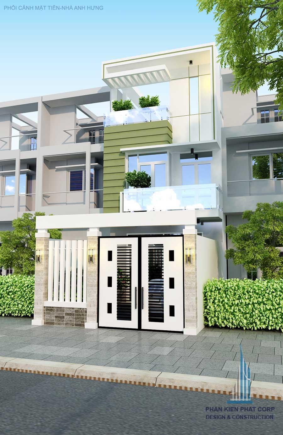 Thiết kế nhà phố 3 tầng - Mặt tiền