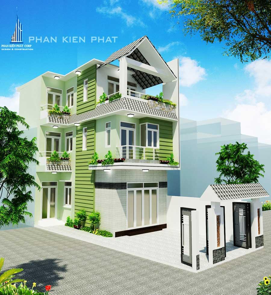 Nhà 3 tầng mái Thái - Mặt tiền