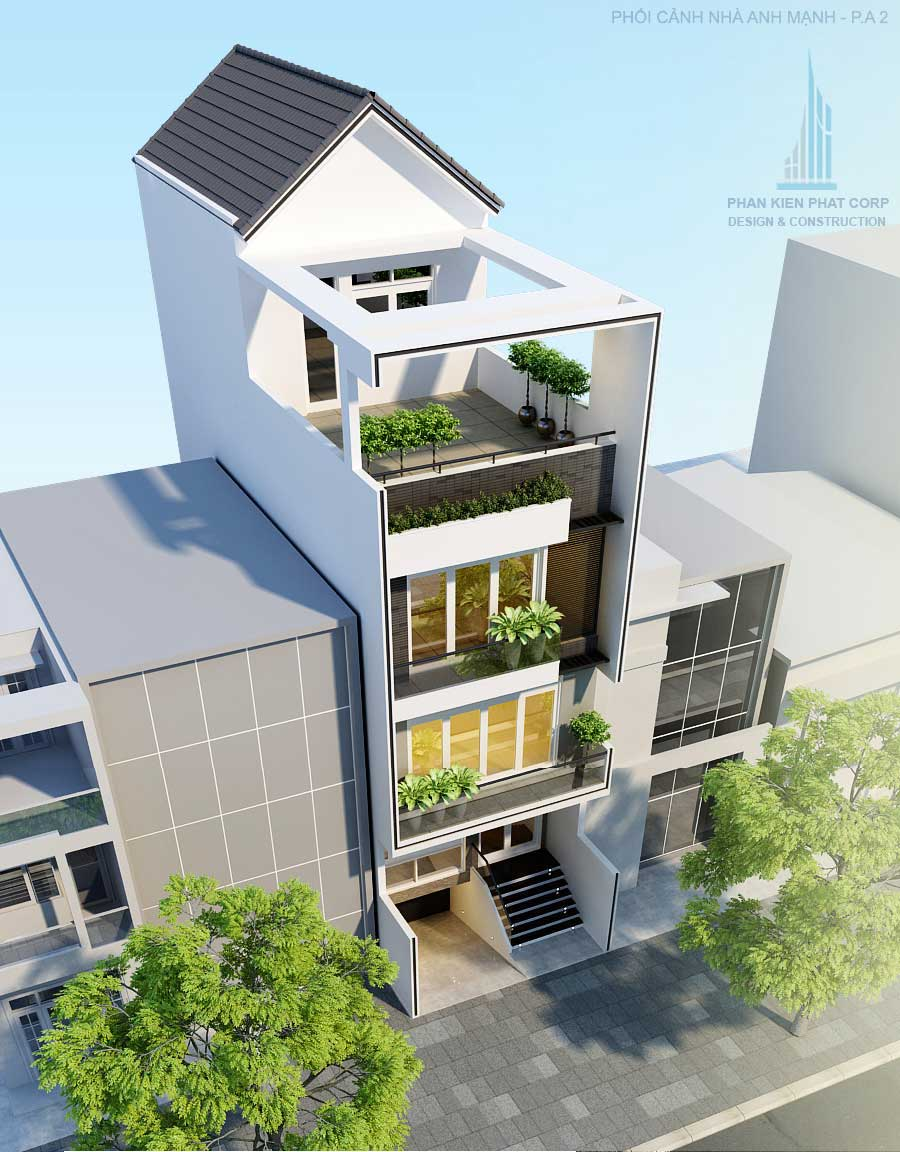 Nhà 4 tầng - Phối cảnh mặt tiền