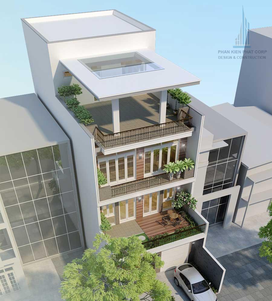 Bản vẽ nhà 4 tầng mặt phố hiện đại