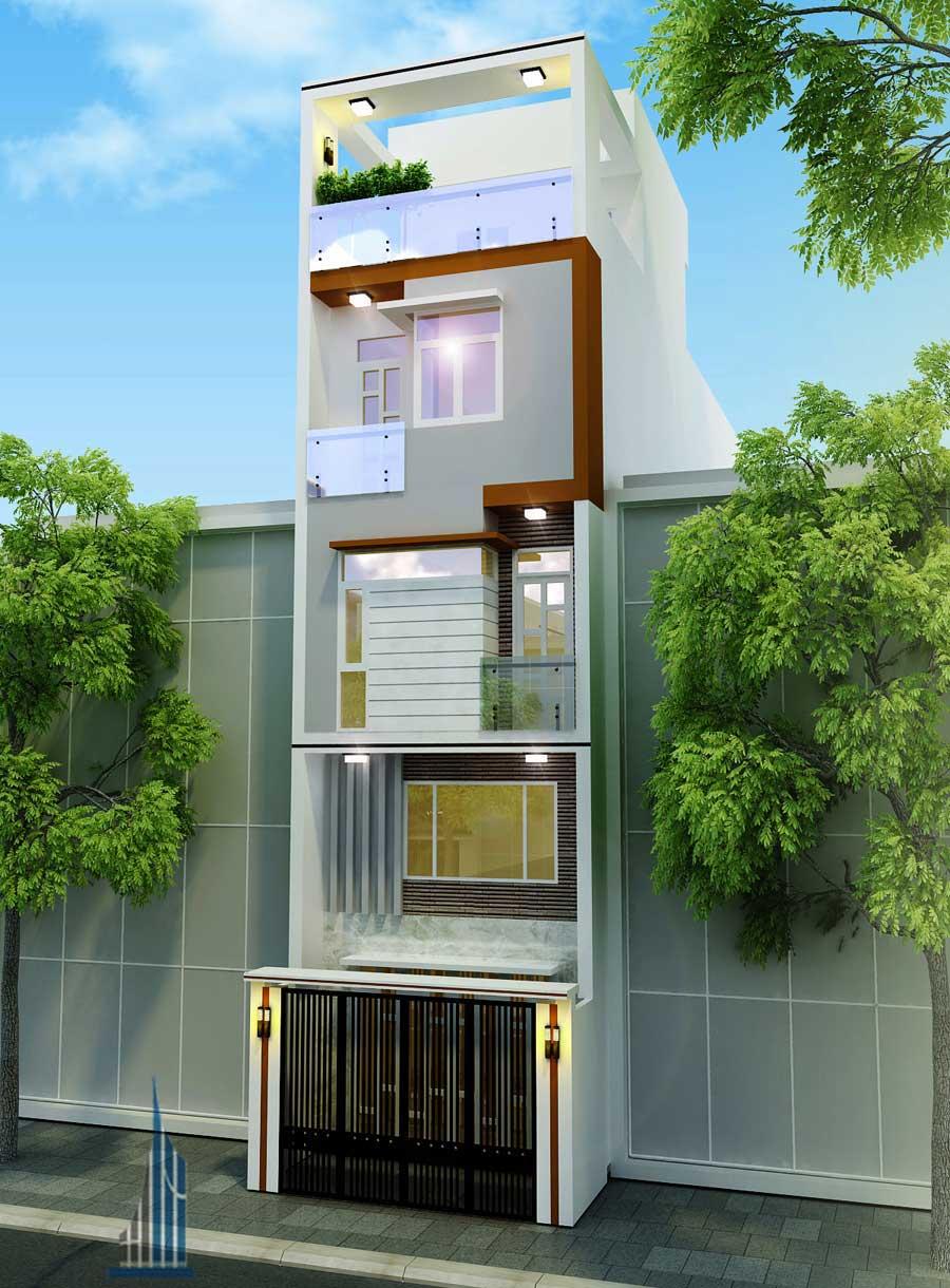 Mặt tiền góc 1 - nhà phố hiện đại 5 tầng