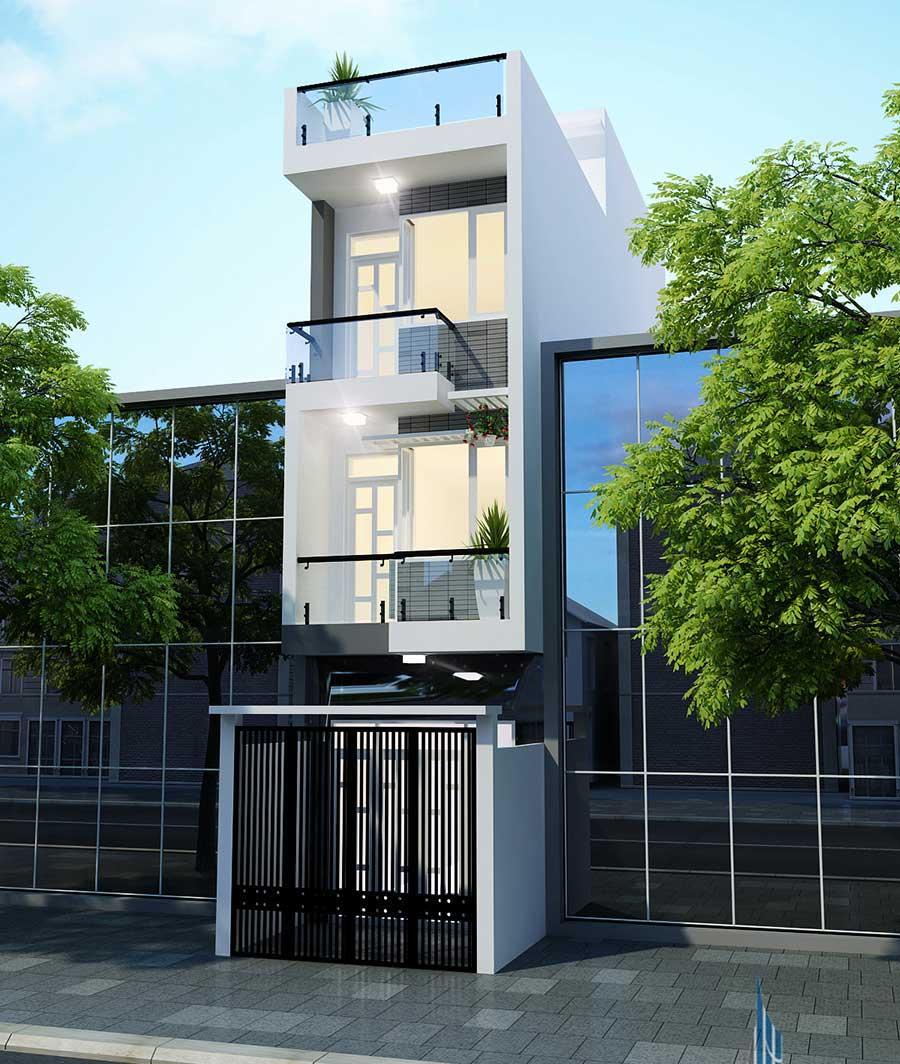 Mặt tiến góc 1 của nhà phố 4 tầng hiện đại