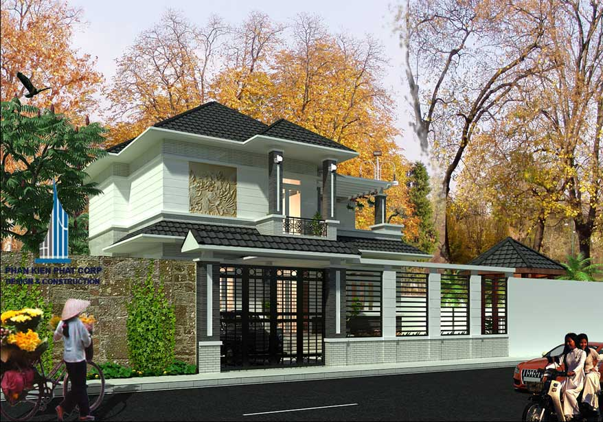 Thiết kế biệt thự sân vườn 2 tầng - Mặt tiền góc 1