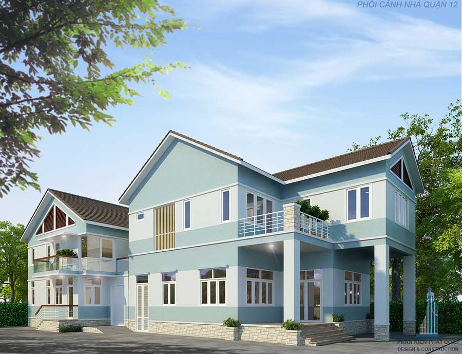 Biệt thự mái thái hiện đại - Mặt tiền góc 1