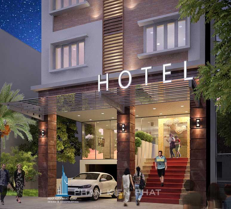 Thiết kế khách sạn - Mặt tiền góc 1