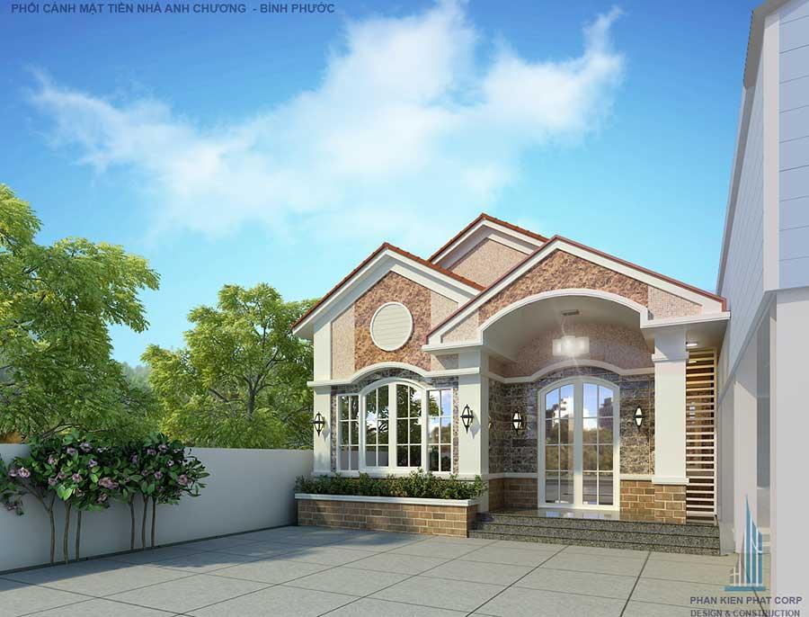 Thiết kế nhà 1 tầng - nhà cấp 4 5x15m