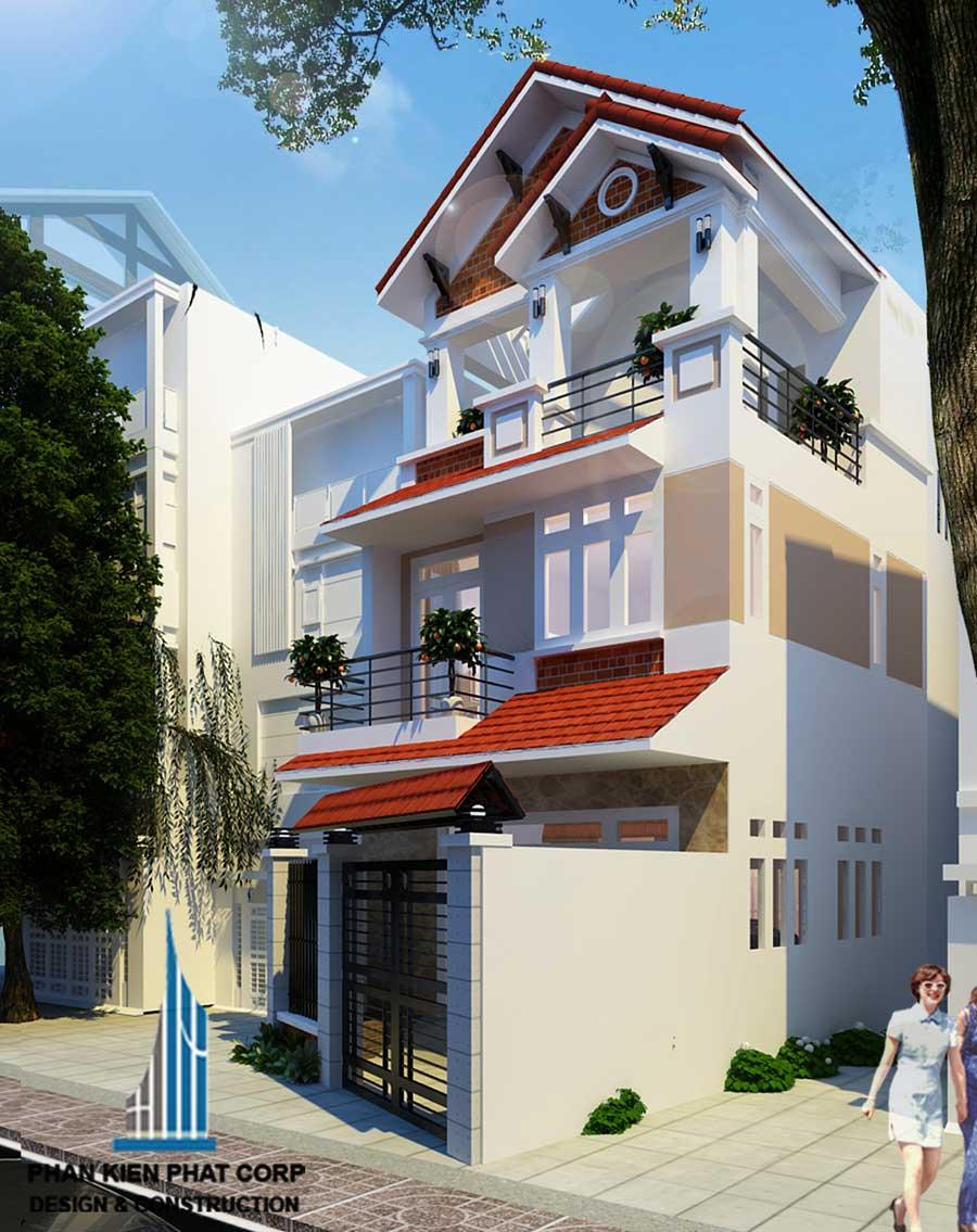 Thiết kế nhà 3 tầng - Mặt tiền góc 1